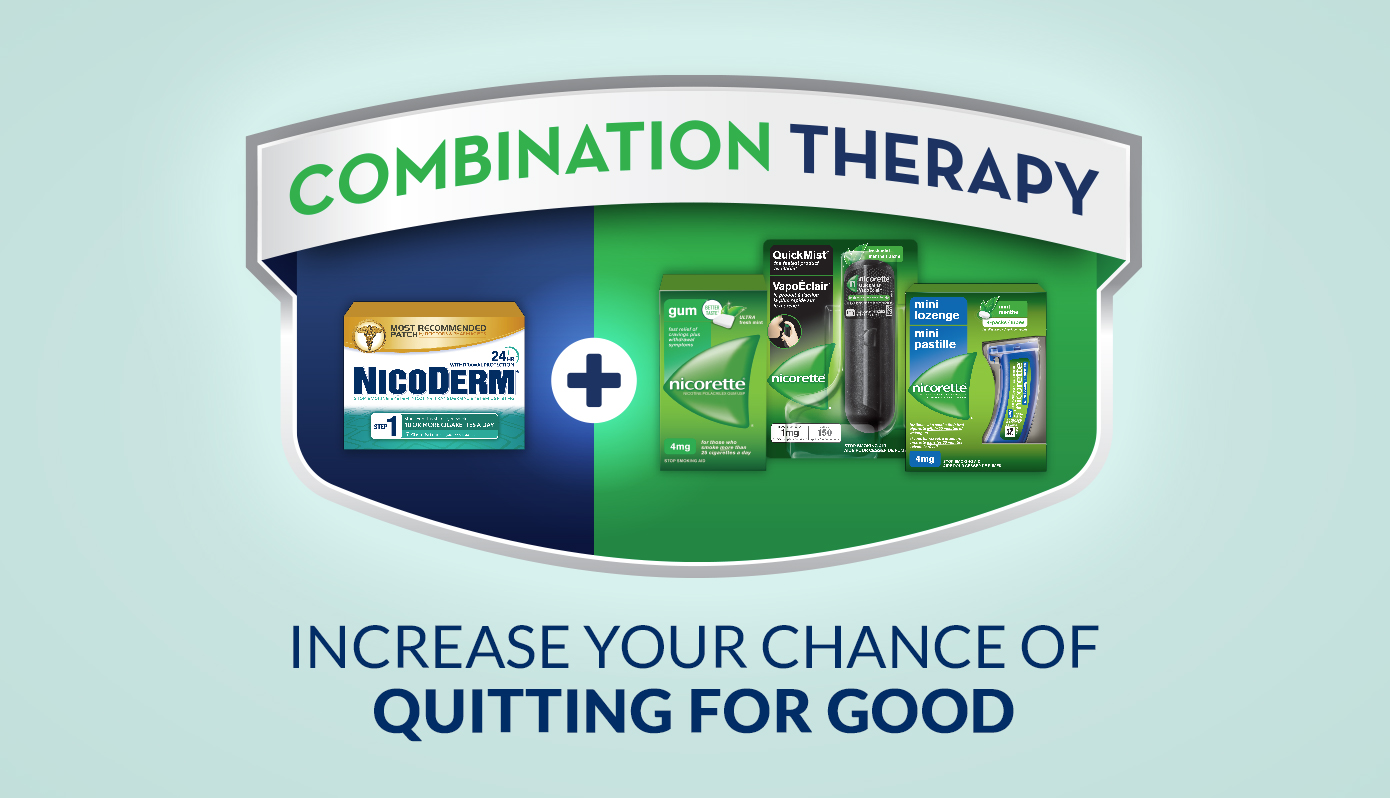 Combination Therapy, increase you chance of quitting for good.