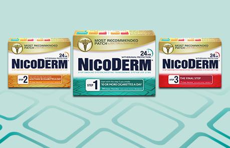 Pack shot of Nicoderm Step 1 patch,  Nicoderm Step 2 patch, &  Nicoderm Step 3 patch