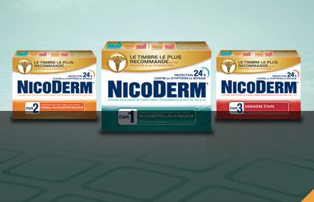 Photo des emballages de timbres Nicoderm Étape 1, Nicoderm Étape 2 et Nicoderm Étape 3