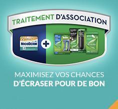 Illustration du traitement d'association avec les produits NicoDerm et Nicorette.